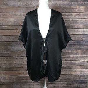 Victoria's Secret Black Silky Tie Front Robe